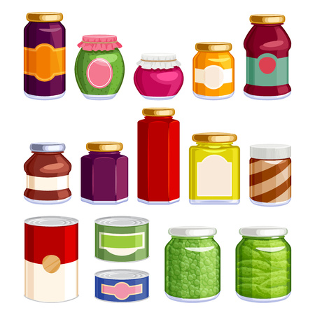 preserved: Preserved food in jars and cans icons set. Jam spread soup green pea gherkin in glass and tin containers. Grocery vector illustration.