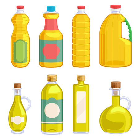 Plantaardige olie assortiment flessen set. Olijfolie, zonnebloemolie, maïsolie, vectorillustratie van sojabonenolie.