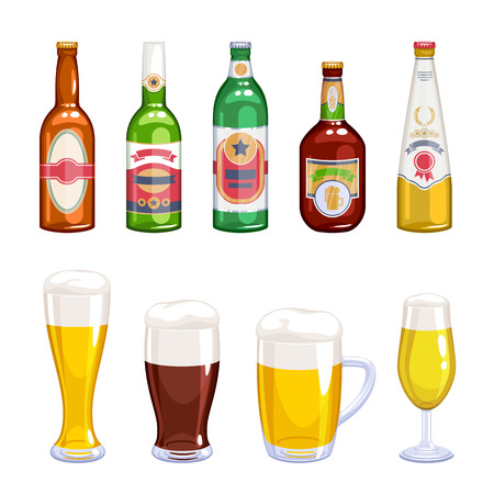 ale: Beer bottles and mugs icons set. Alcohol vector illustration. Lager wheat ale beer varieties. Illustration