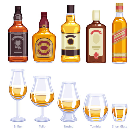 Whisky bottles and glusses icons set. Alcohol vector illustration. Snifter, tulip, nosing, tumbler, short glasses