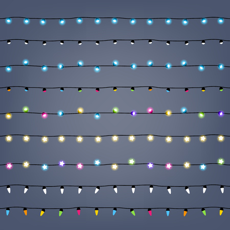 Garlands seamless horizontal borders set. Party new year christmas birthday decorations. Garlands lights design.