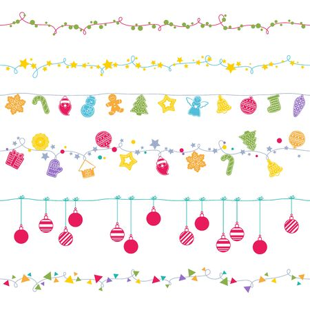 and the horizontal man: Garlands seamless horizontal borders set. Party new year christmas decorations. Cookies and christmas balls. Gingerbread man star santa snowflake tree and other holiday symbols. Vector illustration.