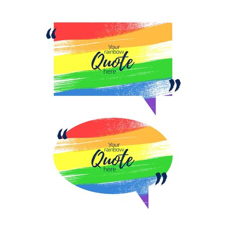 lgbt: Text frame template - painted texture. Quote frame design. Vector illustration. Colorful rainbow.