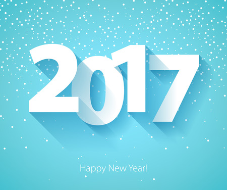 Happy New Year 2017 background. Calendar design typography illustration. Paper white digits design with shadows and snowflakes on colorful background.