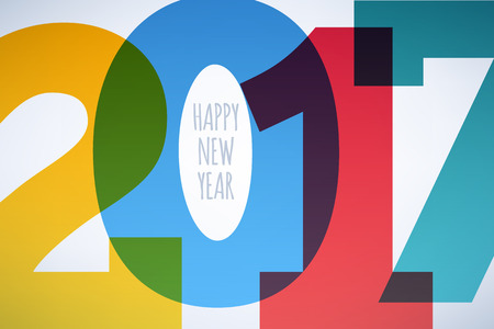graphic display cards: Happy New Year 2017 colorful symbol background. Calendar design typography illustration. Overlapping digits design with shadows. Postcard design with greetings.