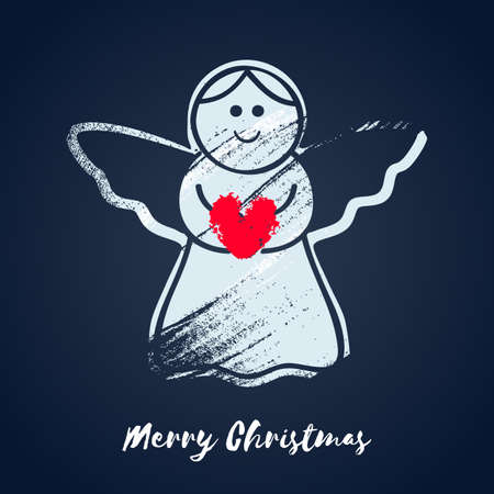 christmas angel: Colorful christmas angel with heart icon.  illustration. Good for christmas new year design
