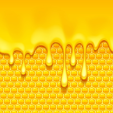 Glossy yellow pattern with honeycomb and sweet honey drips. Sweet background. Seamless horizontal pattern. Honey . 矢量图像