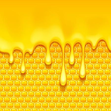 Glossy yellow pattern with honeycomb and sweet honey drips. Sweet background. Seamless horizontal pattern. Honey . Illusztráció