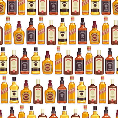 beverage menu: Whisky bottles seamless pattern background. Strong alcohol illustration. Drink bar party menu design.