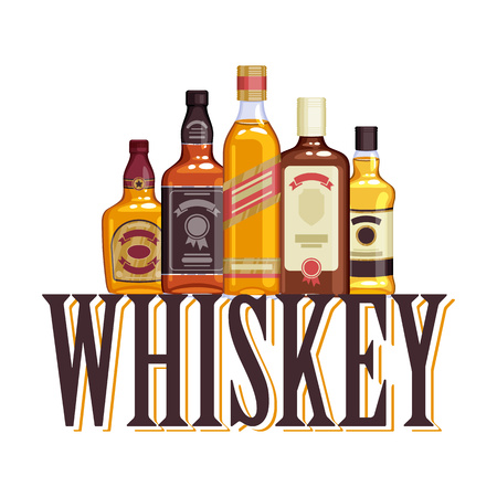 bourbon whisky: Whisky bottles and glasses. Alcohol illustration. Drinks bar party design. Illustration