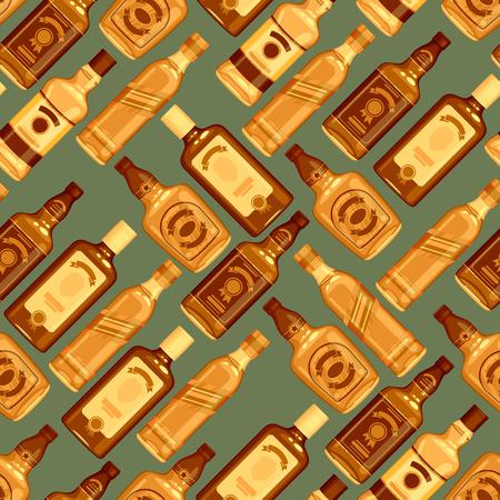 bourbon whisky: Whisky bottles seamless pattern background. Strong alcohol illustration. Drink bar party menu design.