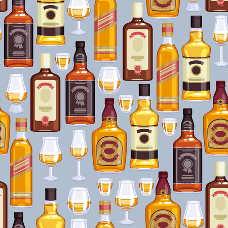bourbon whisky: Whisky bottles and glasses background. Strong alcohol illustration. Seamless pattern. Drink bar party menu design.