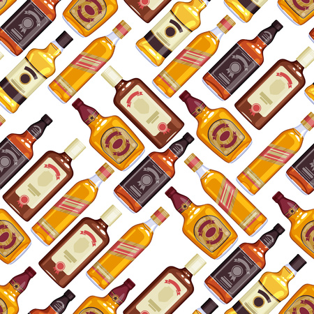 bourbon whisky: Whisky bottles seamless pattern background. Strong alcohol illustration. Drink bar party menu design.