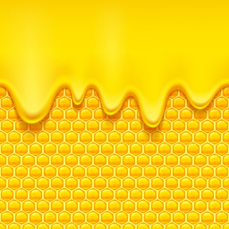 Glossy yellow pattern with honeycomb and sweet honey drips. Sweet background. Seamless horizontal pattern. Honey . Çizim