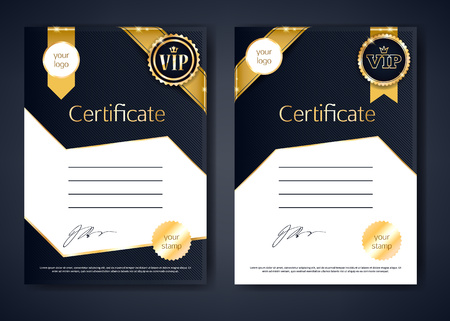 sertificate: VIP premium certificates templates set. Black and golden design. Golden ribbons with round stamp label decorative background.