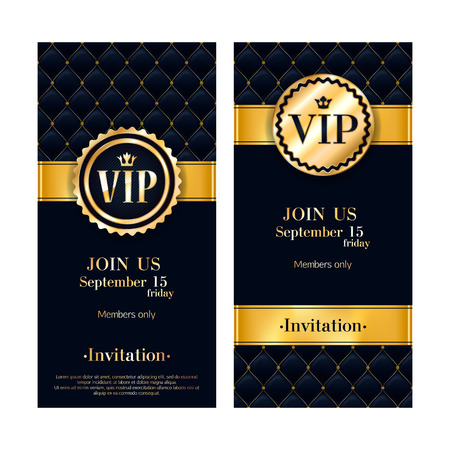VIP party premium invitation card poster . Black and golden design template. Quilted pattern decorative background with gold ribbon and round badge. Vectores