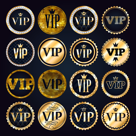 diamonds on black: VIP premium golden badges set. Black and golden design template. Quilted pattern decorative background with gold ribbon, crown and diamonds.