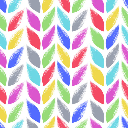 Knitted, tress or wheat ears seamless colorful pattern. Hand drawn paint brush background. illustration.