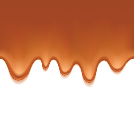 sweet background: Caramel sweet drips flowing. Seamless horizontal background. Vector illustration.