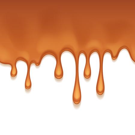 Caramel sweet drips flowing. Seamless horizontal background. Vector illustration.