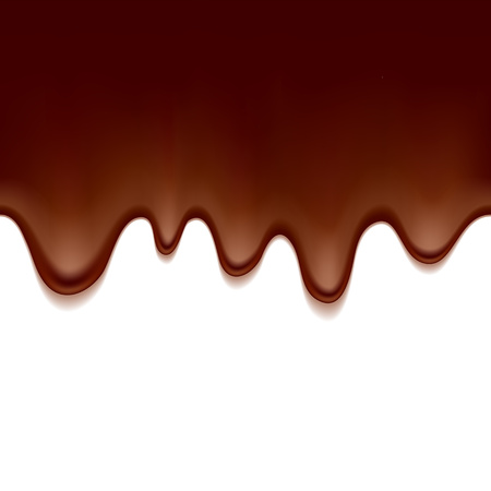 drips: Melted flowing chocolate drips - seamless horizontal background vector illustration.