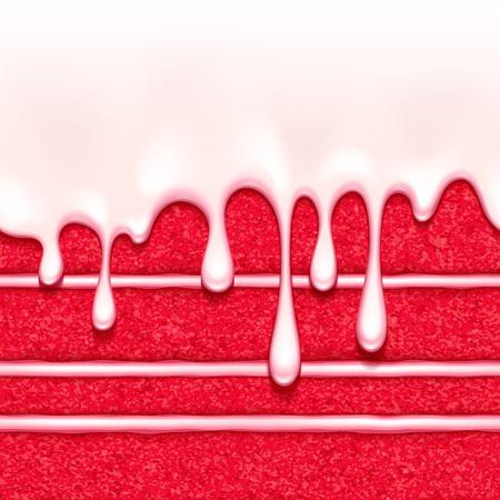 白いクリーム色の詰物と釉流れの背景に赤いベルベットのスポンジ ケーキ。カラフルなシームレスなテクスチャです。ベクトルの図。ベーカリー メ