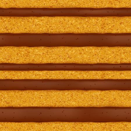 pastel de chocolate: bizcocho con crema de chocolate relleno de fondo. textura perfecta. Ilustración del vector. Bueno para el diseño del menú panadería - envases aviador bandera cartel.