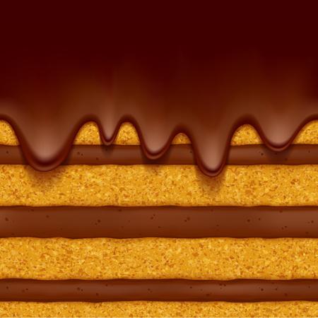 bizcocho con relleno de crema de chocolate y fondo de flujo de chocolate. textura perfecta. Ilustración del vector. Bueno para el diseño del menú panadería - envases aviador bandera cartel. Ilustración de vector