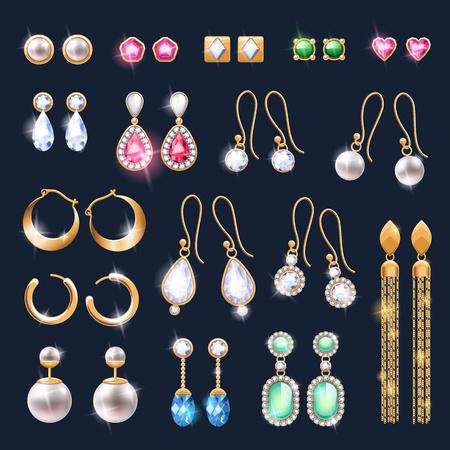 Realistische Ohrringe Schmuck Zubehör-Icons gesetzt. Gold- und Diamant-Perlen Edelsteine ??Anhänger Vektor-Illustration. Stud-Band-Tropfen baumeln Ohrringe Designs. Vektorgrafik
