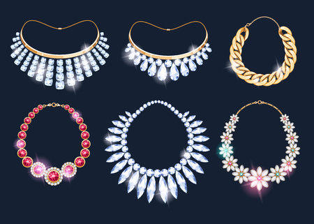 Realistic necklaces jewelry accessories icons set. Necklace gold chain gemstones pearl pendant vector illustration.