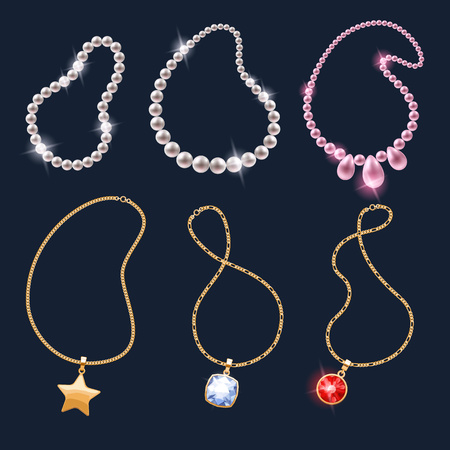 necklaces: Realistic necklaces jewelry accessories icons set. Necklace gold chain gemstones pearl pendant vector illustration.