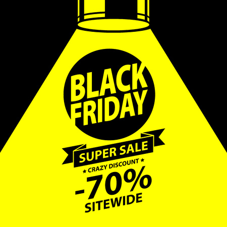 black yellow: Black friday sale background. Text in yellow spotlight beam vector illustration. Good for poster banner flyer advertising design. Simple bold style.