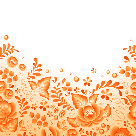 Orange flowers floral russian porcelain beautiful folk ornament. Vector illustration. Floral chinese pattern.