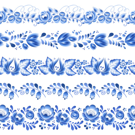 porcelain: Blue flowers floral russian porcelain beautiful folk ornament. Vector illustration. Seamless horizontal borders. Floral chinese pattern.