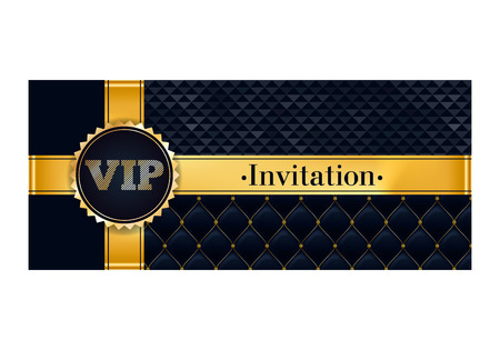 quilted: VIP party premium invitation card poster flyer. Black and golden design template. Quilted and triangle patterns decorative background with gold ribbon and round badge. Illustration