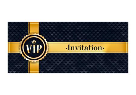 VIP-party premium uitnodiging kaart poster flyer. Zwarte en gouden ontwerpsjabloon. Faceted driehoek patroon decoratieve achtergrond met gouden lint en ronde badge.