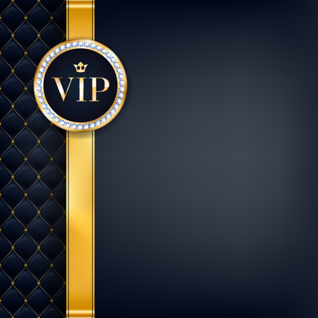 quilted: VIP party premium invitation card poster flyer. Black and golden design template. Quilted pattern decorative background with gold ribbon and round badge.