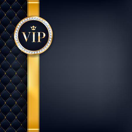 VIP party premium uitnodigingskaart poster flyer. Zwart en gouden ontwerp sjabloon. Gewatteerde patroon decoratieve achtergrond met gouden lint en rond badge. Stock Illustratie