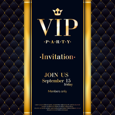 VIP party premium invitation card poster flyer. Black and golden design template. Quilted pattern decorative background with gold ribbon and metallic letters. Vettoriali