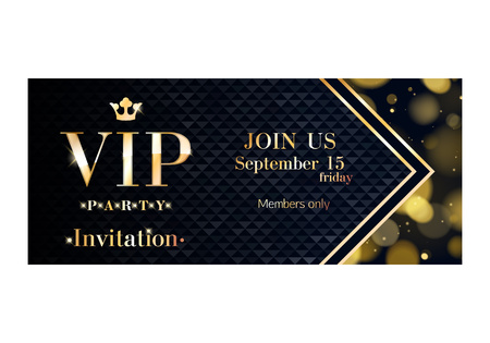 quilted: VIP party invitation card poster and quilted pattern decorative  Mosaic faceted letters. Illustration