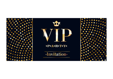 party club: VIP club party invitation card poster flyer. Black and golden design template. Sequins and circles pattern decorative