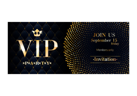 pass on: VIP club party invitation card poster  Black and golden design template. Sequins and circles pattern decorative