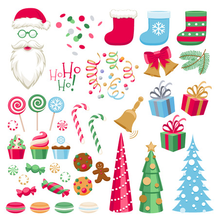 Colorful assorted christmas party icons set. Santa hat candy cane gift box bell christmas tree cookies socks etc vector illustration. Vettoriali