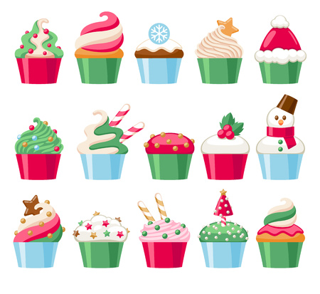 Colorful christmas cupcakes icons set. Sweet holiday bakery. Good for greeting poster banner advertising design. Stock Illustratie