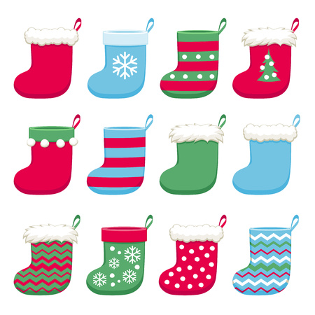 Colorful christmas socks set vector illustration. Good for holidays greeting poster banner advertising design.