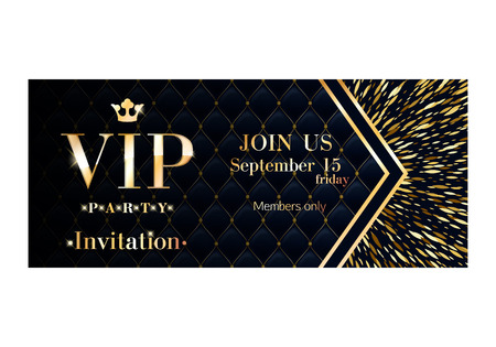 party club: VIP club party premium invitation card poster flyer. Black and golden burst design template. Sharp oval sequins pattern decorative vector background.
