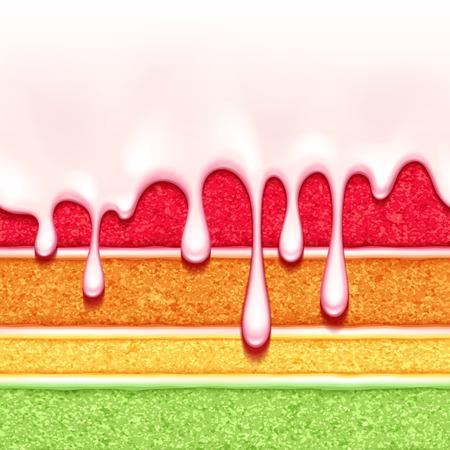 虹スポンジ ケーキの背景。カラフルなシームレスなテクスチャです。  イラスト・ベクター素材