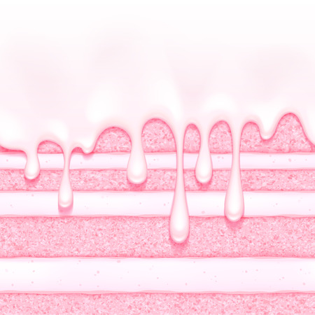Pink strawberry and cream sponge cake background. Colorful seamless texture.
