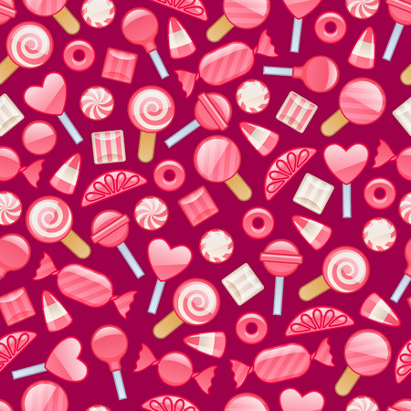 Different sweets. Assorted candies seamless background. Illustration