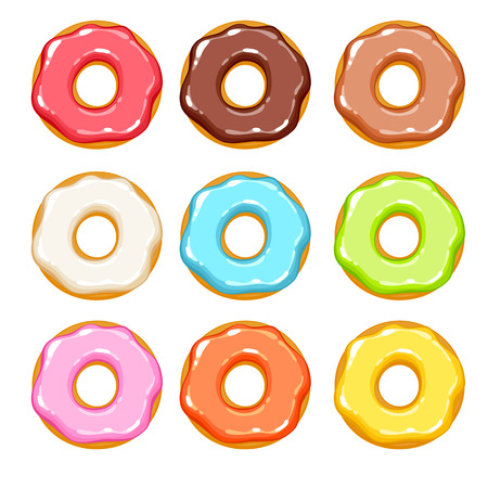 cake with icing: Colorful donuts icons set. Sweet bakery vector.